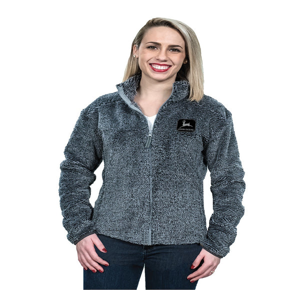 Womens John Deere Charcoal Full Zip Sherpa Jacket
