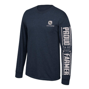John Deere Mens Navy Proud Farmer LS Tee