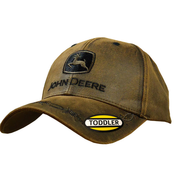 John Deere Kids Brown Oilskin Cap