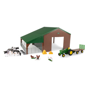 1/32 Dual Purpose Building with 4020 Tractor, Wagon and Animals