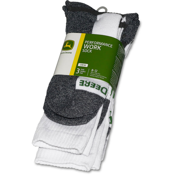 John Deere Mens 3 Pack White Crew Sock