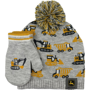 John Deere Boys Toddle Hat + Mitten Set