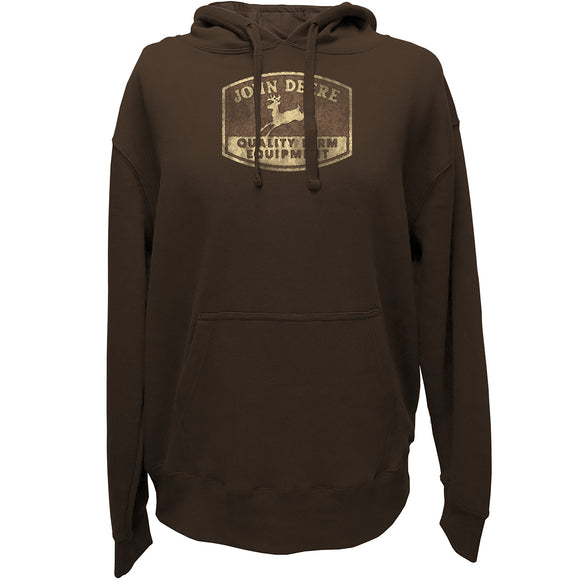 John Deere Mens Brown Vintage Sign Hoodie
