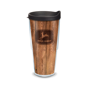 24 oz John Deere Woodgrain Tumbler with Lid