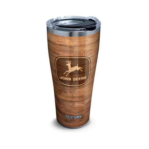 30 oz John Deere Woodgrain Stainless Steel Tumbler with Lid