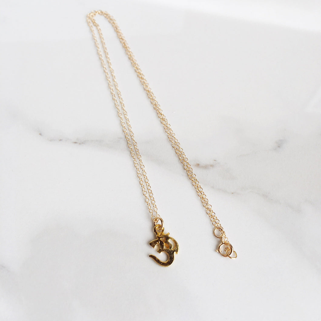 Om Stamp 14k Gold Filled Charm Necklace, Dainty