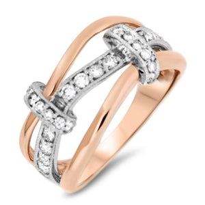 Rose and White Gold Ring with Diamonds