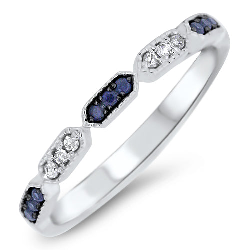 Sapphire and Diamond Stacking Band