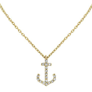Yellow Gold & Diamond Anchor Necklace