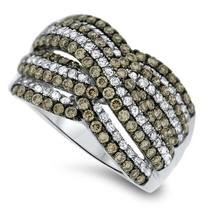 Layering Chocolate & White Diamond Fashion Ring