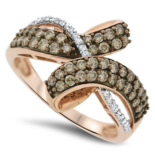 Rose Gold Chocolate & White Diamond Fashion Ring