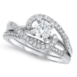 Graceful Swirling Diamond Wedding Set