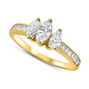 Three-Stone Marquise Diamond Ring