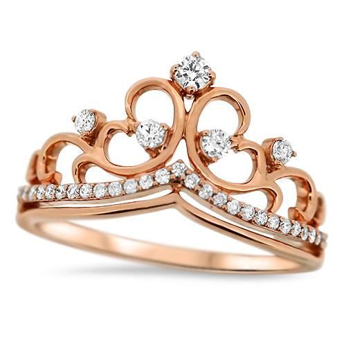 Rose Gold Crown Diamond Ring