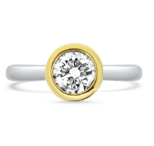 Bezel Set Two Tone Diamond Engagement Ring