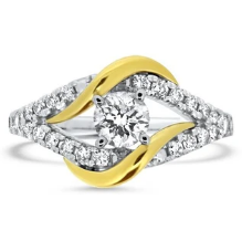 Two Tone .51ct Diamond Twist Engagement Ring