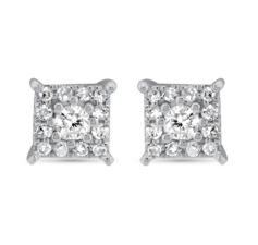 White Gold Diamond Cluster Earrings