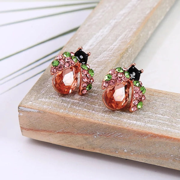 ROSE GOLD LADYBUG STUD EARRINGS