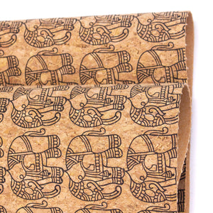 Ethnic Elephant Block- Vegan Cork Fabric- COF-298-A