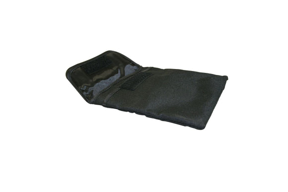 BLACK NYLON CAMERA CARRYING BAG WITH BELT LOOP AND TWO POUCHES. - Rivera Primo