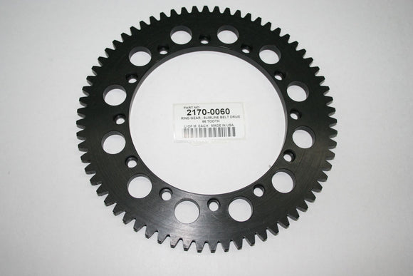 BLACK OXIDED STEEL 66 TOOTH RING GEAR. FITS 11MM SLIMLINE NARROW OPEN BELT DRIVE - Rivera Primo