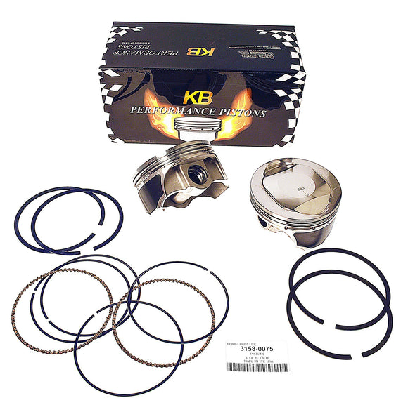 KB PISTONS, KNUCKLE, PAN,SHOVEL 74 CID 8.5:1. PAIR OF PISTONS WITH RINGS. - Rivera Primo