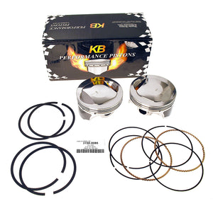 KB PISTONS, SHOVEL, 80 CID, 8.0:1. PAIR OF PISTONS WITH RINGS. - Rivera Primo