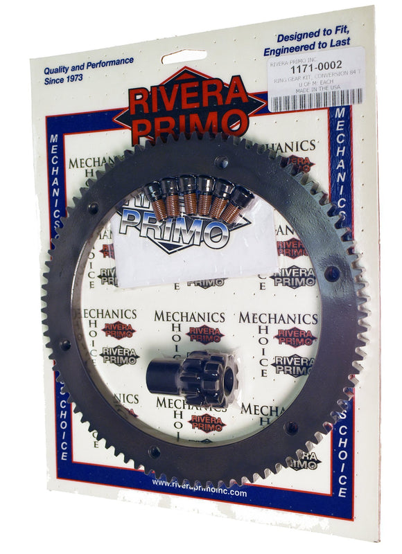 Ring Gear Kit, Conversion - 84T and 10T Pinion with Screws - Rivera Primo