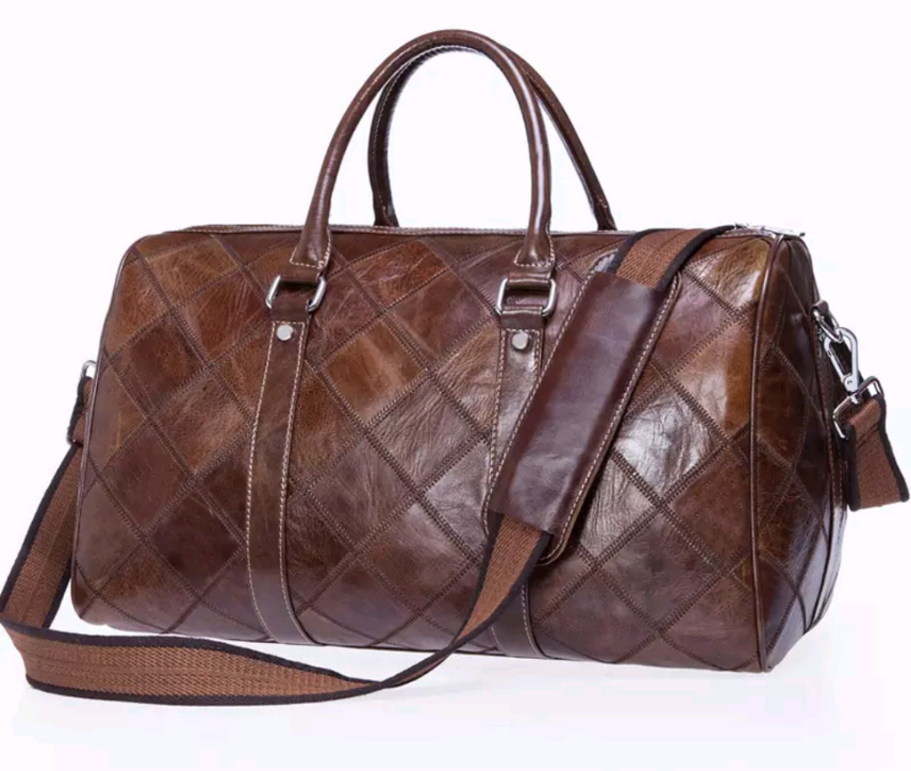 Genuine Leather Patchwork Design Duffle Bag - Swank & Swagger