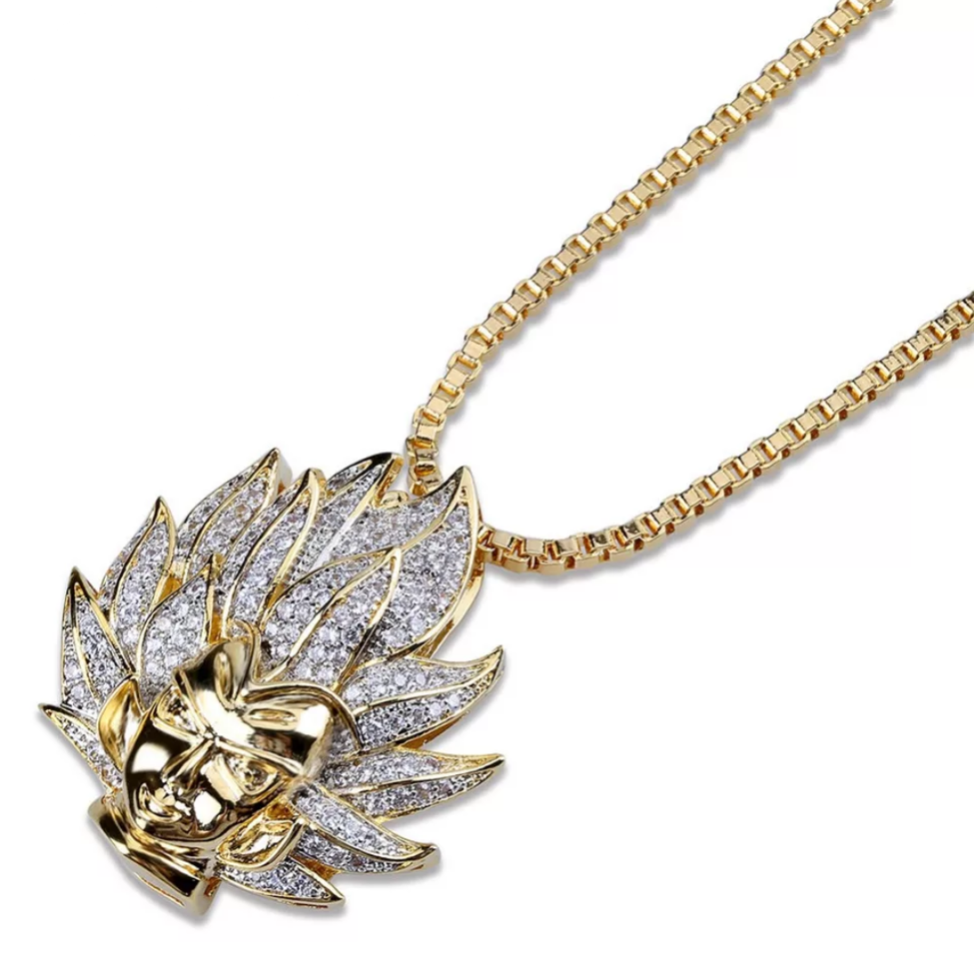 Iced Out Super Saiyan Pendant Necklace - Swank & Swagger
