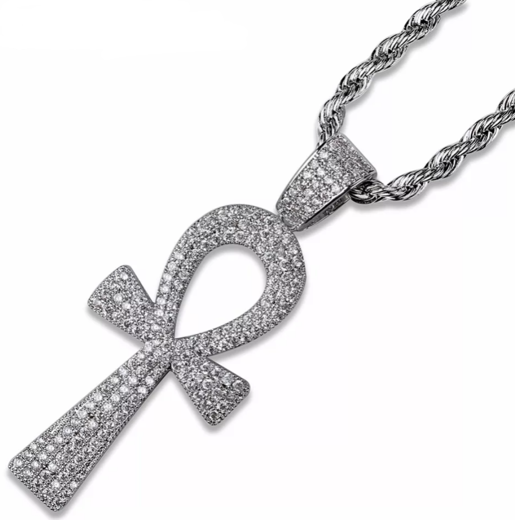 Iced Out Ankh Cross Pendant Necklace - Swank & Swagger