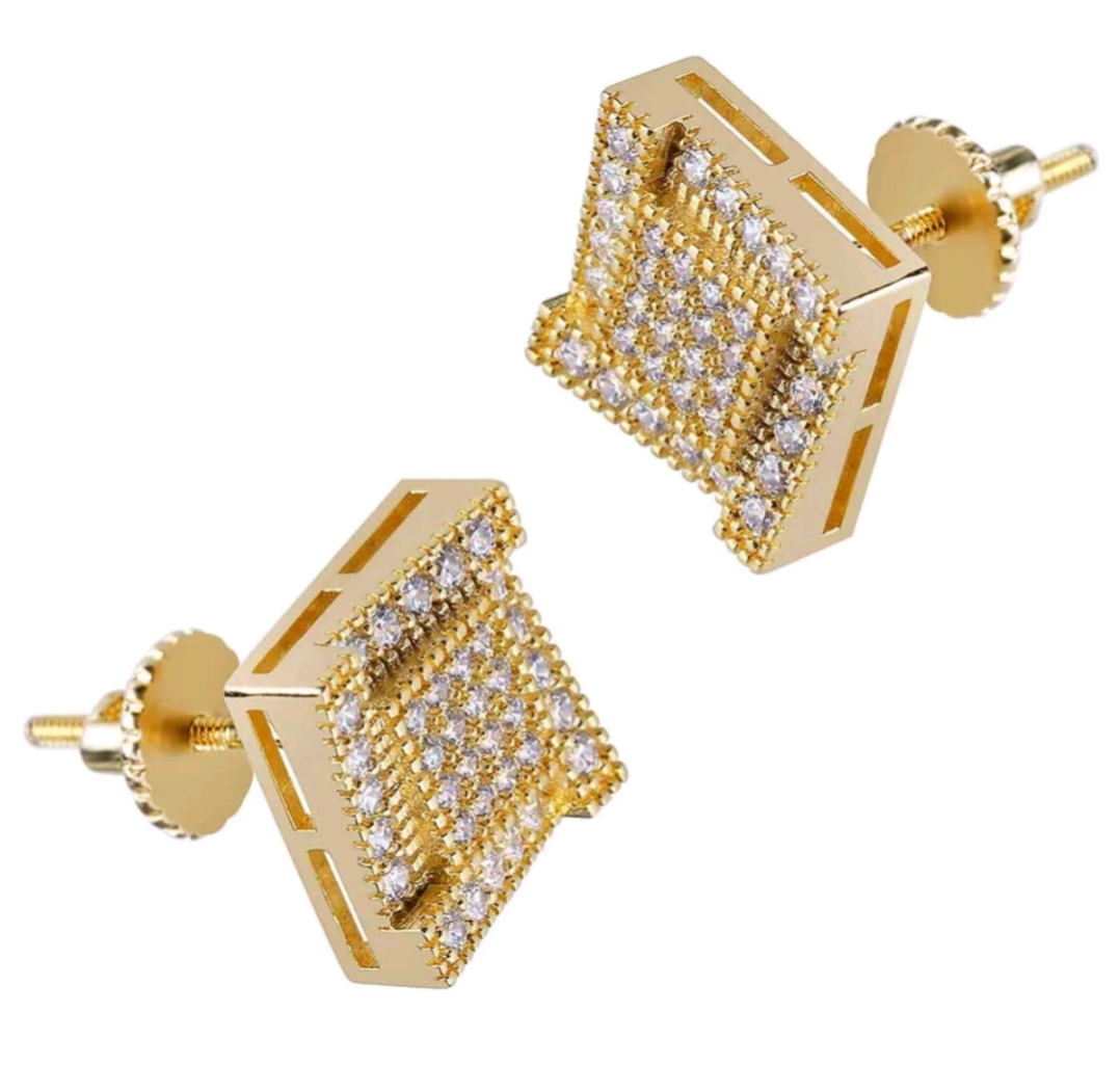 18k Gold Square CZ Diamonds Stud Earrings - Swank & Swagger