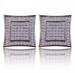 18k Gold Micro Pave CZ Diamond Stud Earrings - Swank & Swagger