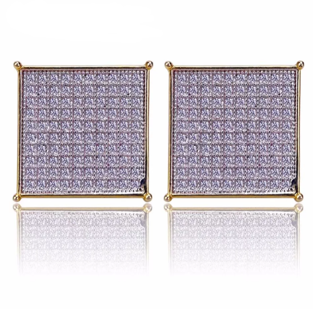 Iced Out Micro Pave CZ Stud Earrings - Swank & Swagger