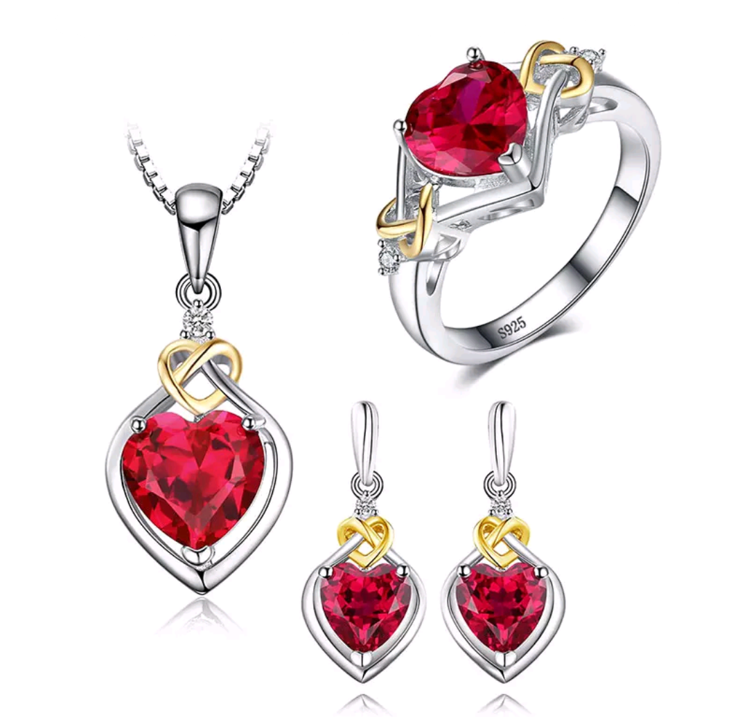 Lab Created Ruby Sterling Silver Jewelry Set - Swank & Swagger