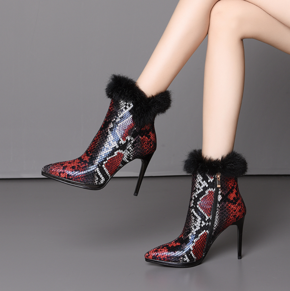 Women's Genuine Leather Python Stiletto Ankle Boots - Swank & Swagger