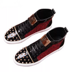Rivet Studded High Top Luxury Sneakers - Swank & Swagger
