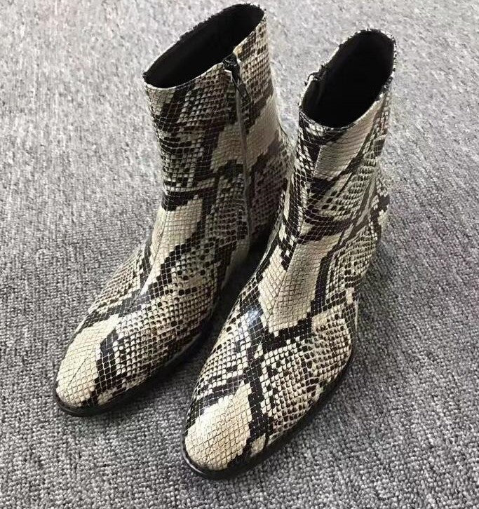Men's Luxury Fashion Genuine Leather Snakeskin Print Chelsea Boots - Swank & Swagger