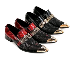 Genuine Leather Alligator Golden Loafers - Swank & Swagger
