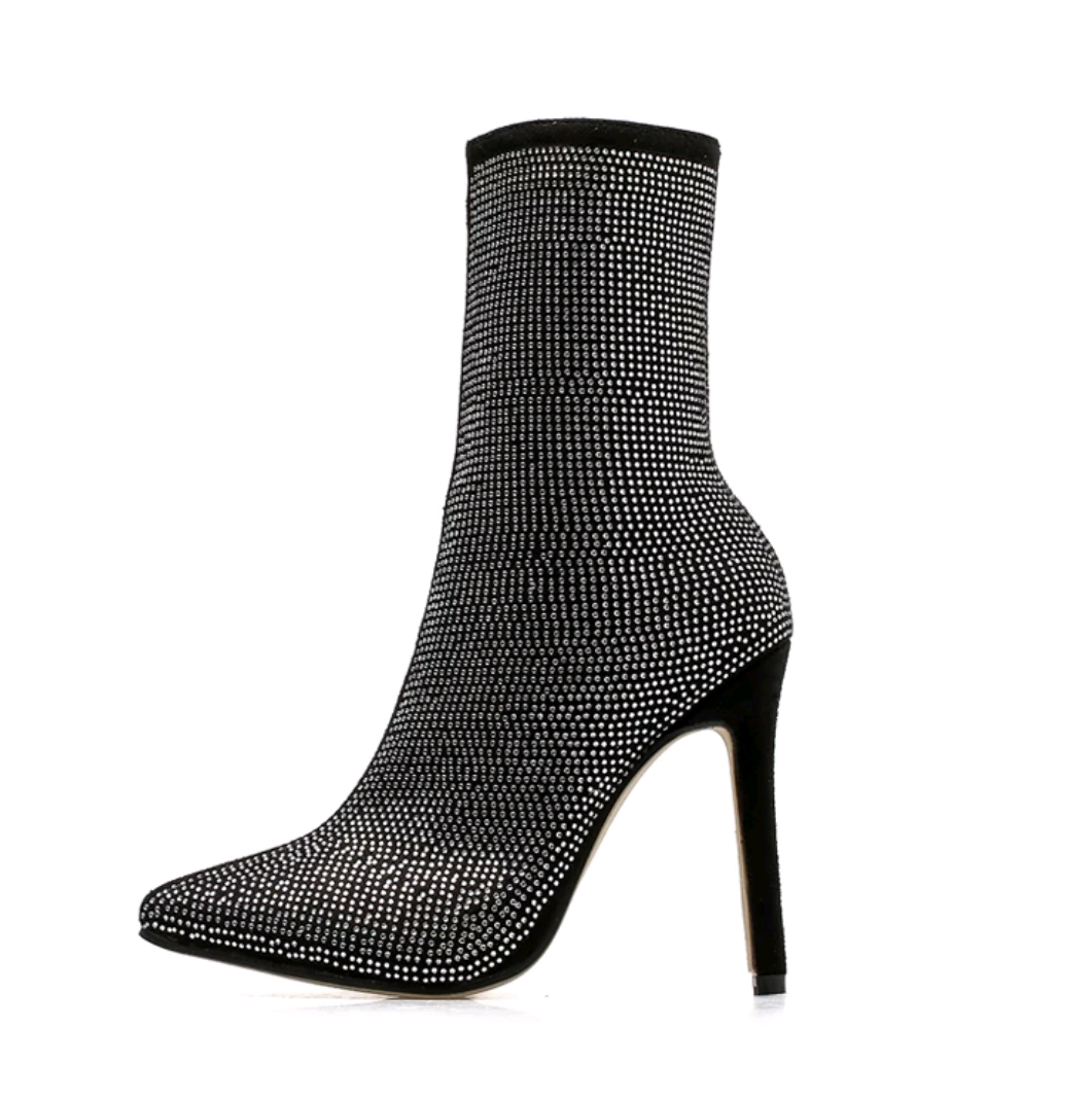 Women's Designer Crystal Flock Ankle Boots - Swank & Swagger
