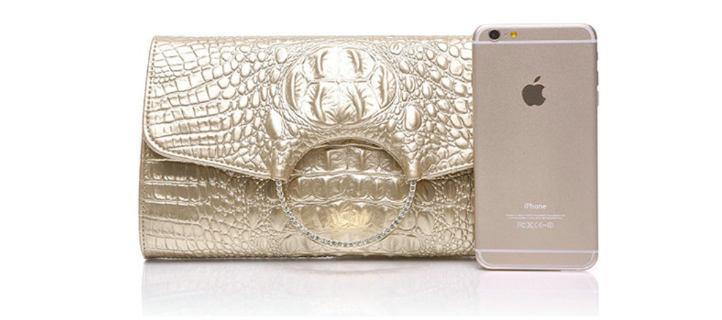Genuine Leather Crocodile Embossed Clutch - Swank & Swagger