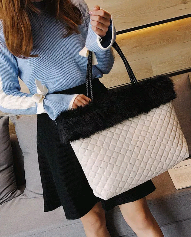 Diamond Lattice Faux Fur Handbag - Swank & Swagger