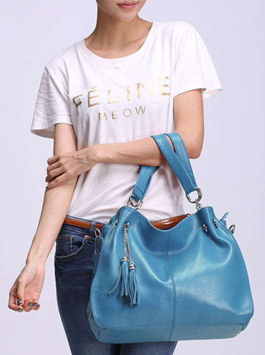 Genuine Leather Tassel Chain Shoulder Bag - Swank & Swagger