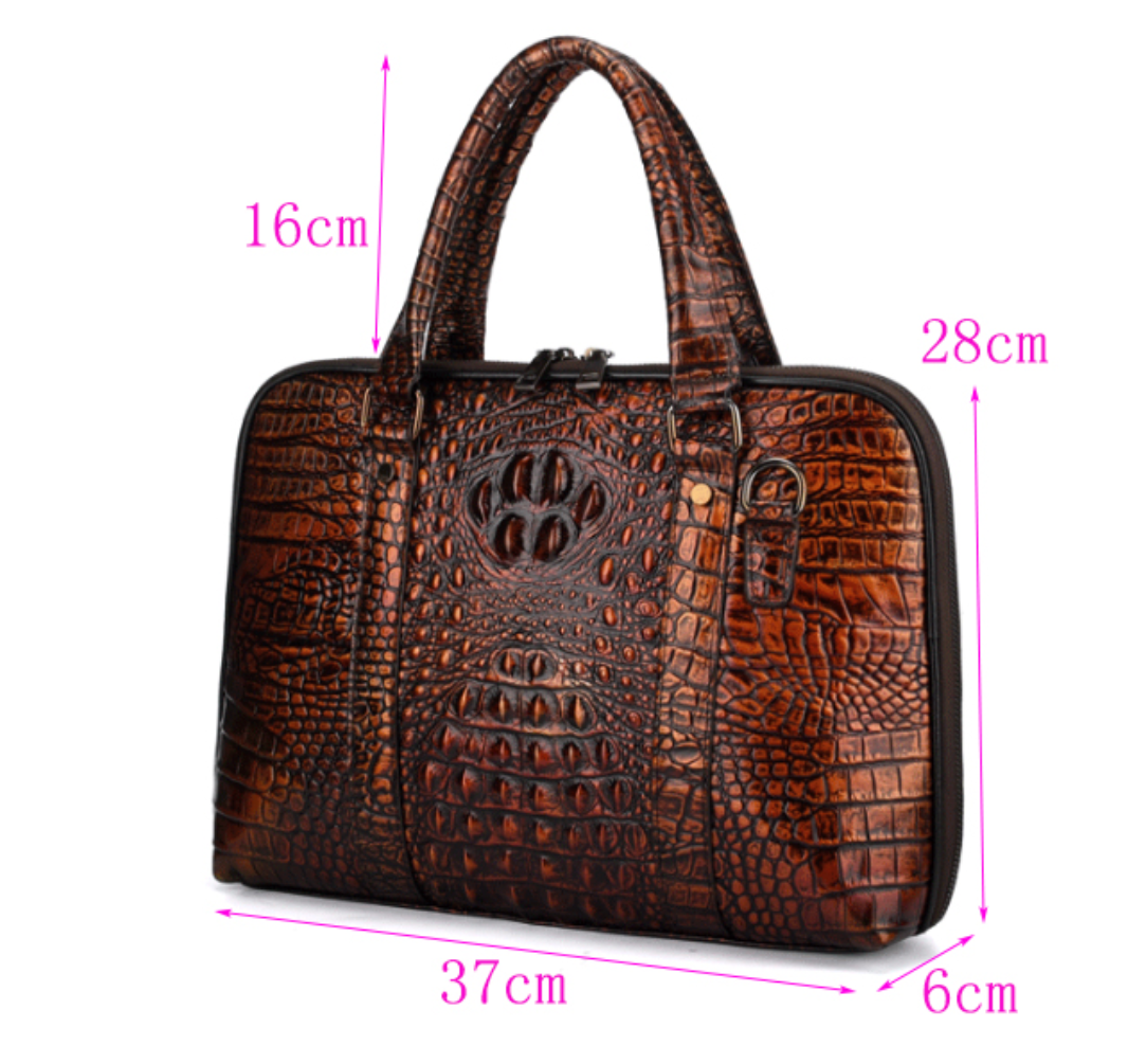 Crocodile Embossed Executive Briefcase - Swank & Swagger