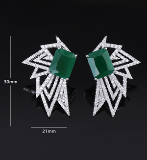 CZ Starburst Platinum Earrings - Swank & Swagger