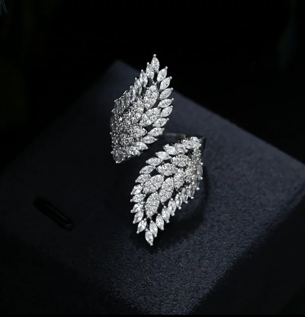 Lovely CZ Angel Wings Ring - Swank & Swagger