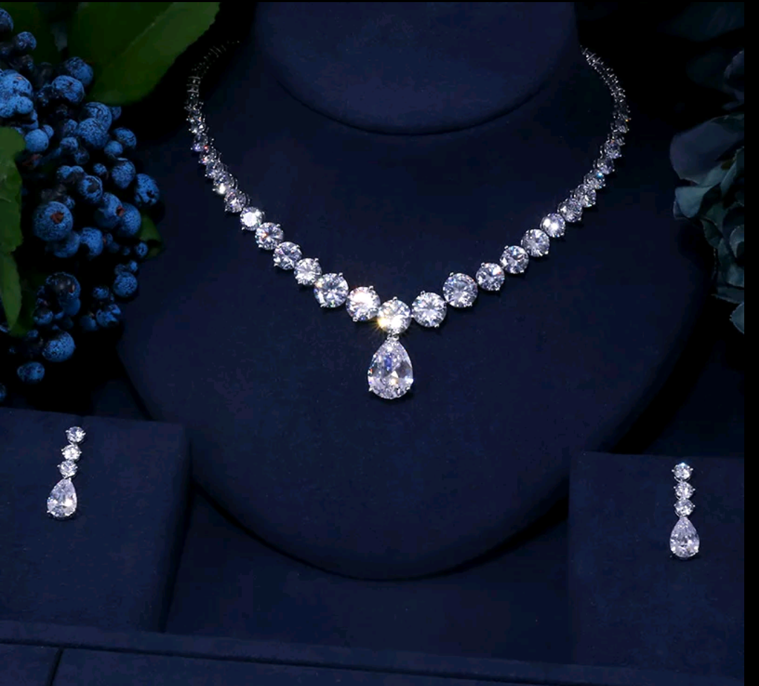 CZ Platinum Necklace & Earrings Jewelry Set - Swank & Swagger