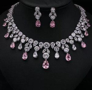 Brilliant CZ Platinum Necklace & Earrings Jewelry Set - Swank & Swagger