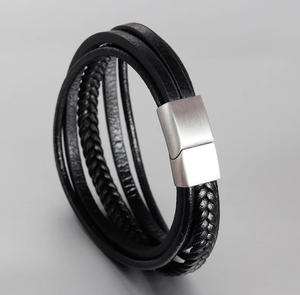 Leather & Steel Bracelet - Swank & Swagger