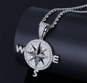 Iced Out Compass Pendant Necklace - Swank & Swagger